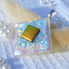 Diamond Multi Gold Handmade Dichroic Glass Pendant