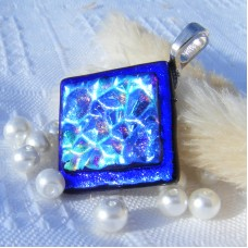 Diamond Textured Blue Handmade Dichroic Glass Pendant