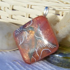 Humming Bird Pendant Dichroic Glass Necklace