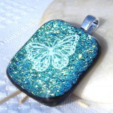 Crinkle Butterfly Dichroic Glass Pendant Necklace Jewellery