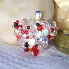 Red Clear Black Bubble Heart Dichroic Glass Pendant
