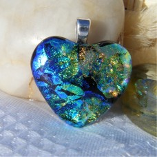 Multi Colour Heart Dichroic Glass Pendant  647