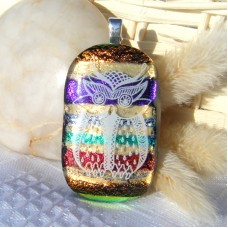 Jazzy Owl Dichroic Glass Pendant Necklace Jewellery