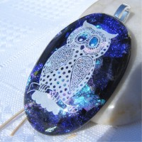 Blue Turquoise Owl Dichroic Glass Pendant Necklace Jewellery