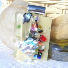 Artists Dichroic Glass Pendant Handmade Necklace