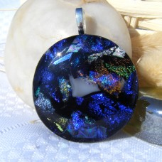 Blue Green Circle Dichroic Glass Necklace Pendant 653
