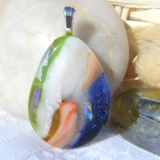 White Orange Blue Green Gold Handmade Dichroic Glass Pendant Necklace