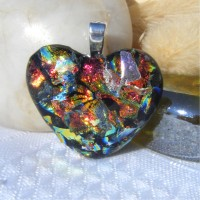 Fiery Glow Heart Dichroic Glass Pendant  655