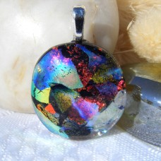 Red Gold Blue Oval Dichroic Glass Necklace Pendant 656