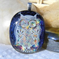 Rainbow Owl Dichroic Glass Pendant Necklace Jewellery