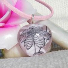 Pink PalmTree Handmade Lampwork Glass Pendant
