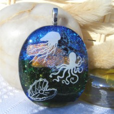 Underwater Coral Dichroic Glass Pendant Necklace Jewellery