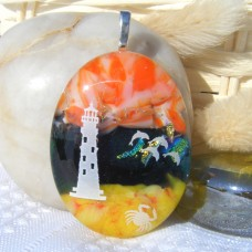Orange Amber Green Lighthouse Dolphin Dichroic Glass Pendant