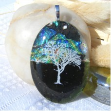 Tree of Life Mountain Dichroic Glass Pendant Necklace