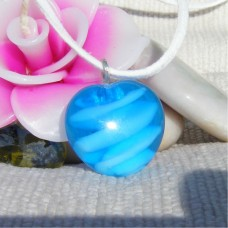 Bright Blue Lampwork Handmade Glass Pendant