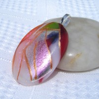 Orange Red White Gold Handmade Dichroic Glass Pendant Necklace Jewellery