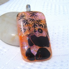 Panda Golden Dichroic Glass Pendant Necklace Jewellery