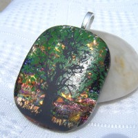 Sunset Tree of Life Handmade Dichroic Glass Pendant