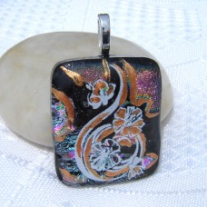 Multi and Gold Accent Handmade Dichroic Glass Pendant Necklace Jewellery