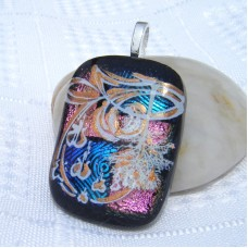 Gold Accent Multi Handmade Dichroic Glass Pendant Necklace Jewellery