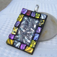 Stained Glass Window Effect Dichroic Glass Pendant Necklace Jewellery