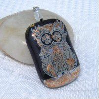 Gold Accent Owl Dichroic Glass Pendant Necklace Jewellery