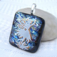 Gold Accent Fairy Handmade Dichroic Glass Pendant Necklace Jewellery