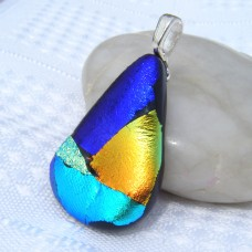 Teardrop Handmade Dichroic Glass Pendant Necklace Jewellery