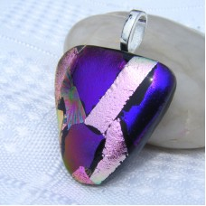 Triangle Handmade Dichroic Glass Pendant Necklace Jewellery
