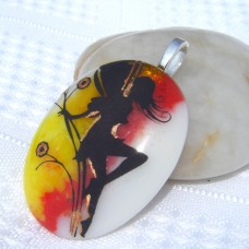 Red Yellow White Gold Fairy Handmade Dichroic Glass Pendant