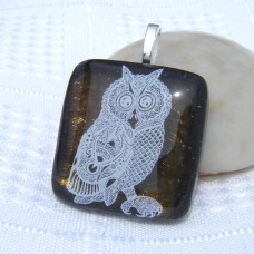 Night Owl Dichroic Glass Pendant Necklace Jewellery