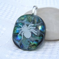 Spider Web Dichroic Glass Pendant Necklace Jewellery