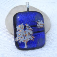 Tree and Ship Handmade Dichroic Glass Pendant Necklace Jewellery