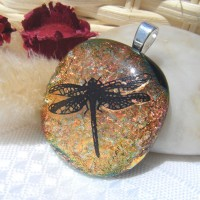 Dragonfly Handmade Dichroic Glass Pendant Necklace Jewellery