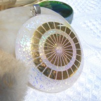Gold Circle Handmade Dichroic Glass Pendant Necklace Jewellery