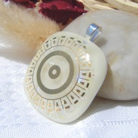 Gold Circle Square Handmade Dichroic Glass Pendant Necklace Jewellery