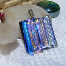 Blue Multi Handmade Dichroic Glass Pendant Handmade Necklace
