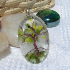 Spring Tree of Life Handmade Dichroic Glass Pendant Necklace Jewellery