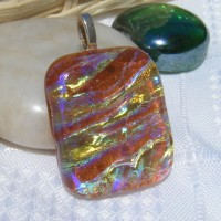 Copper Golden Handmade Dichroic Glass Pendant Necklace Jewellery