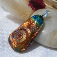 Rainbow Gold Accented Floating Teardrop