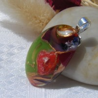 Red Green Gold Accents Dichroic Glass Pendant