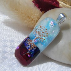 Small Gold Accent Tree of life Dichroic Pendant