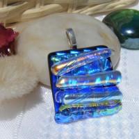 Blue Rainbow Textured Dichroic Glass Pendant