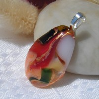 Red White Teardrop Gold Accent Dichroic Pendant
