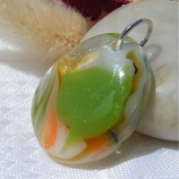 Green Orange White Flowing Teardrop Dichroic Pendant