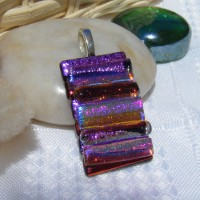 Purple Pink Rainbow Layered Handmade Pendant