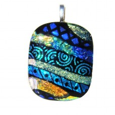 Stripey multicoloured dichroic glass pendant