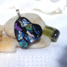 Blue Silver Purple Heart Dichroic Glass Pendant