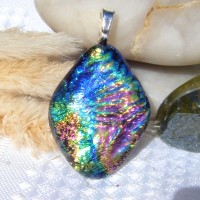 Diamond Rainbow Multi Dichroic Pendant Necklace