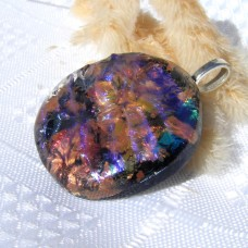 Cerise Gold Blue Dichroic glass Pendant Necklace Jewellery